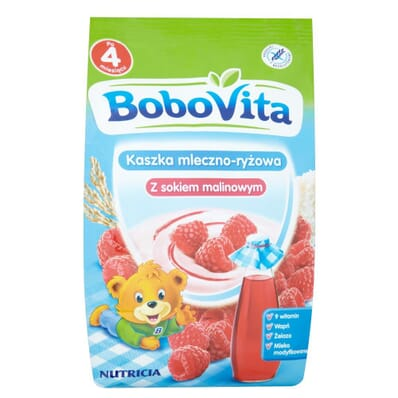 Milk and rice porridge with raspberry juice Bobovita 230g