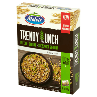 Trendy lunch pearl barley groats with bulgur and green lentils