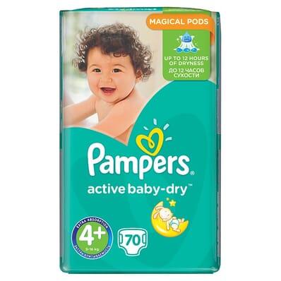 Pieluszki/Pieluchy Pampers Active Baby-Dry rozmiar 4+ (Maxi+), 70 sztuk