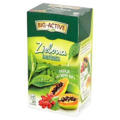 Herbata zielona papaja i jagody goji Big-Active 20 torebek