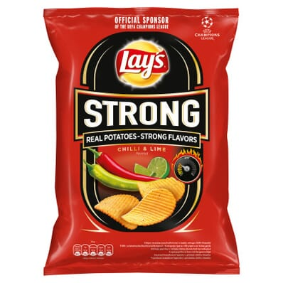 Chipsy Strong karbowane o smaku ostrego chilli i limonki Lay's 265g